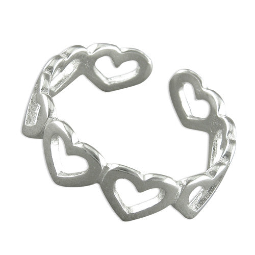 Sterling Silver Plain open hearts toe ring