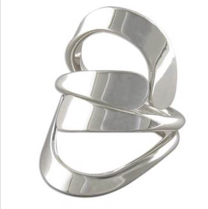 Sterling Silver Ring: Plain cradled cross-over