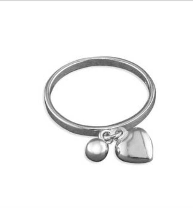 Sterling Silver Heart and bead charms on narrow band