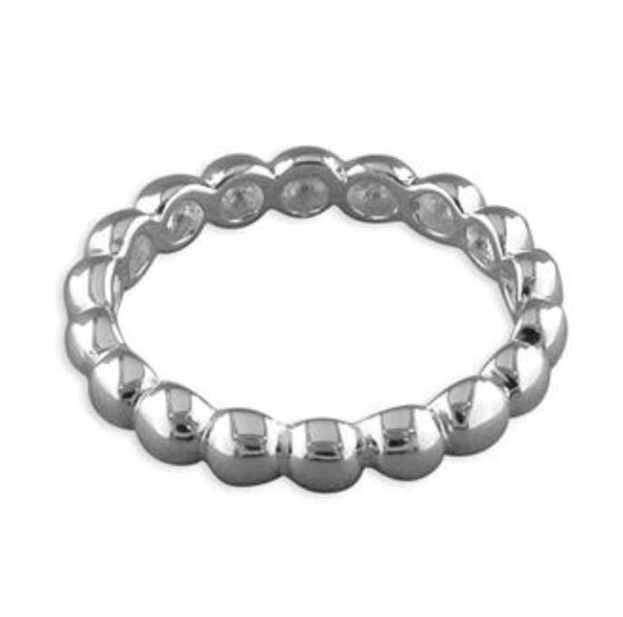 Sterling Silver Narrow Bead Ring
