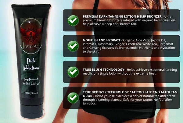 Immoral Dark Addictions (Hemp Blush Bronzer) Tanning Lotion - LuxuryBeautySource.com