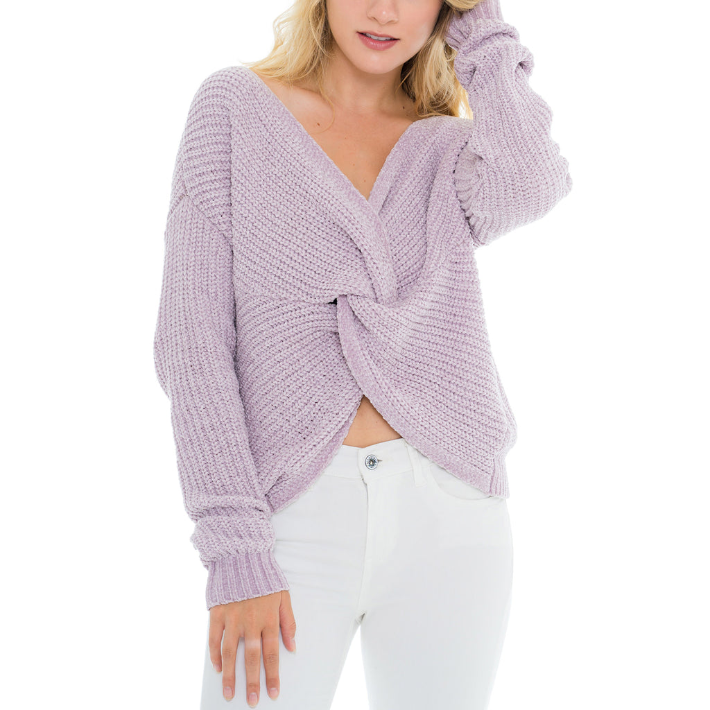 Woven Heart Front Tie Sweater