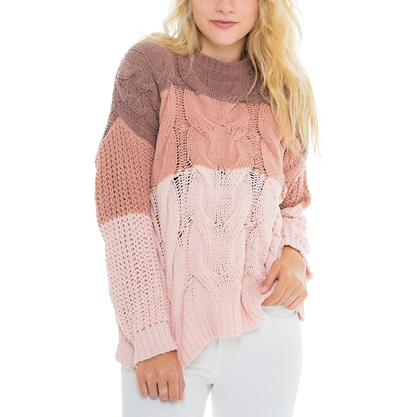 Woven Heart Colorblock Sweater