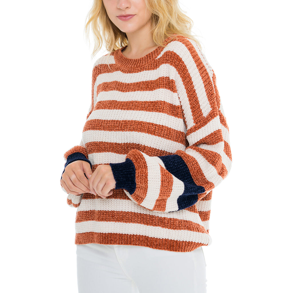 Woven Heart Stripe Sleeve Sweater