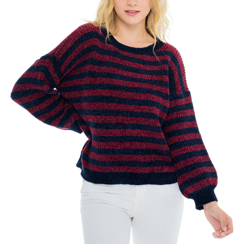 Woven Heart Stripe Navy Sweater