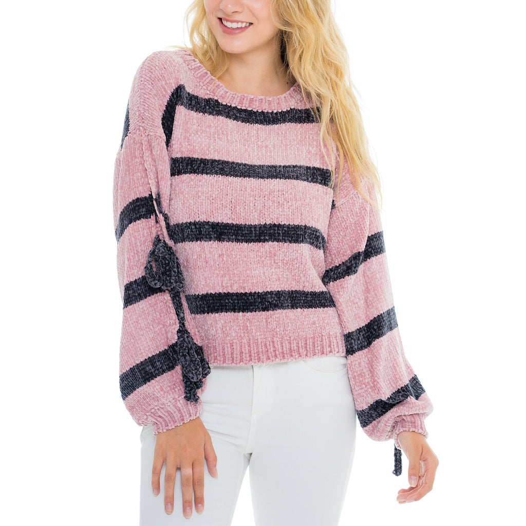 Woven Heart Open Sleeve Sweater