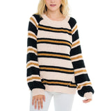 Woven Heart Stripe Chenille Sweater