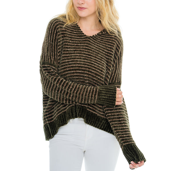 Woven Heart Olive Hoody Sweater