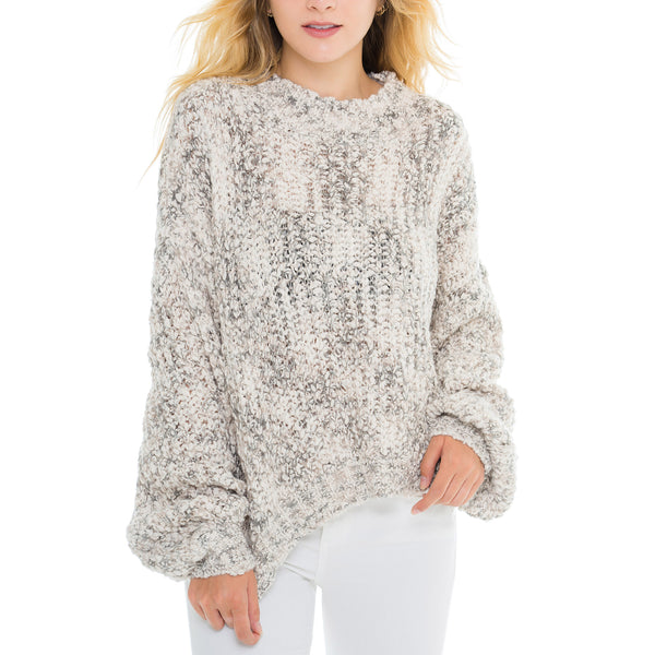 Woven Heart Marl Pullover Sweater