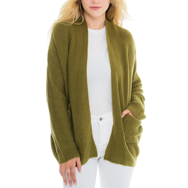 Woven Heart Olive Cardigan