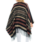 Woven Heart Striped Fringe Cape