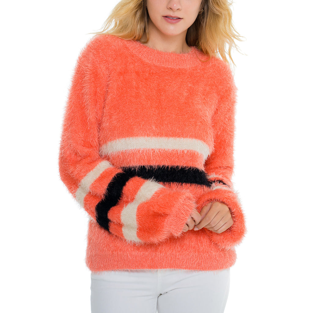 Woven Heart Coral Stripe Sweater