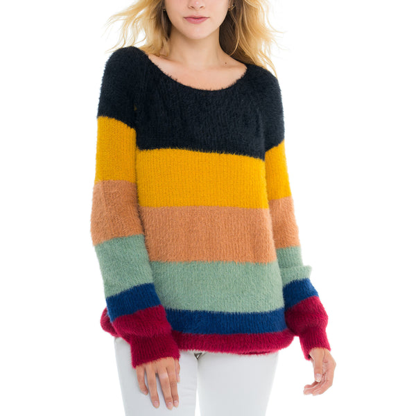 Woven Heart Multi Stripe Sweater
