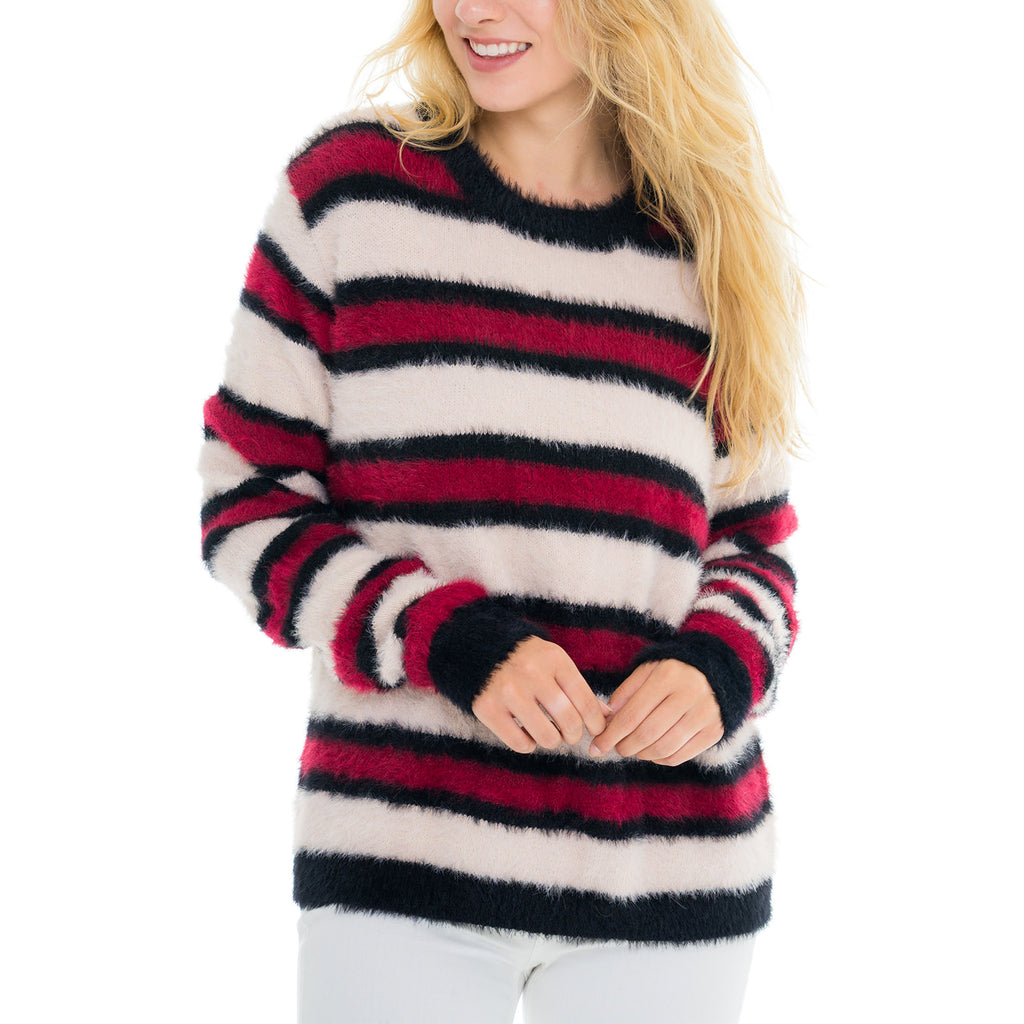 Woven Heart Stripes Sweater