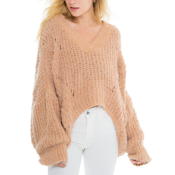 Woven Heart V Neck Sweater