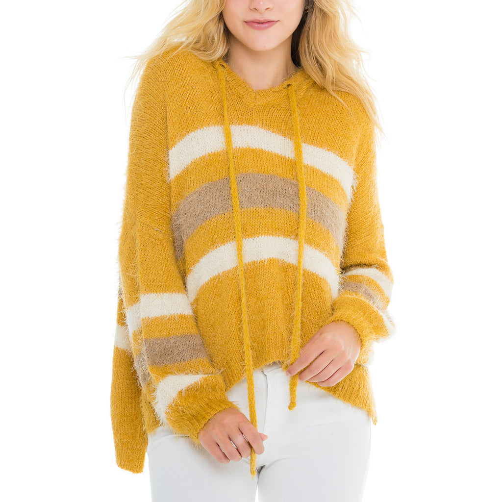 Woven Heart Hooded Striped Sweater