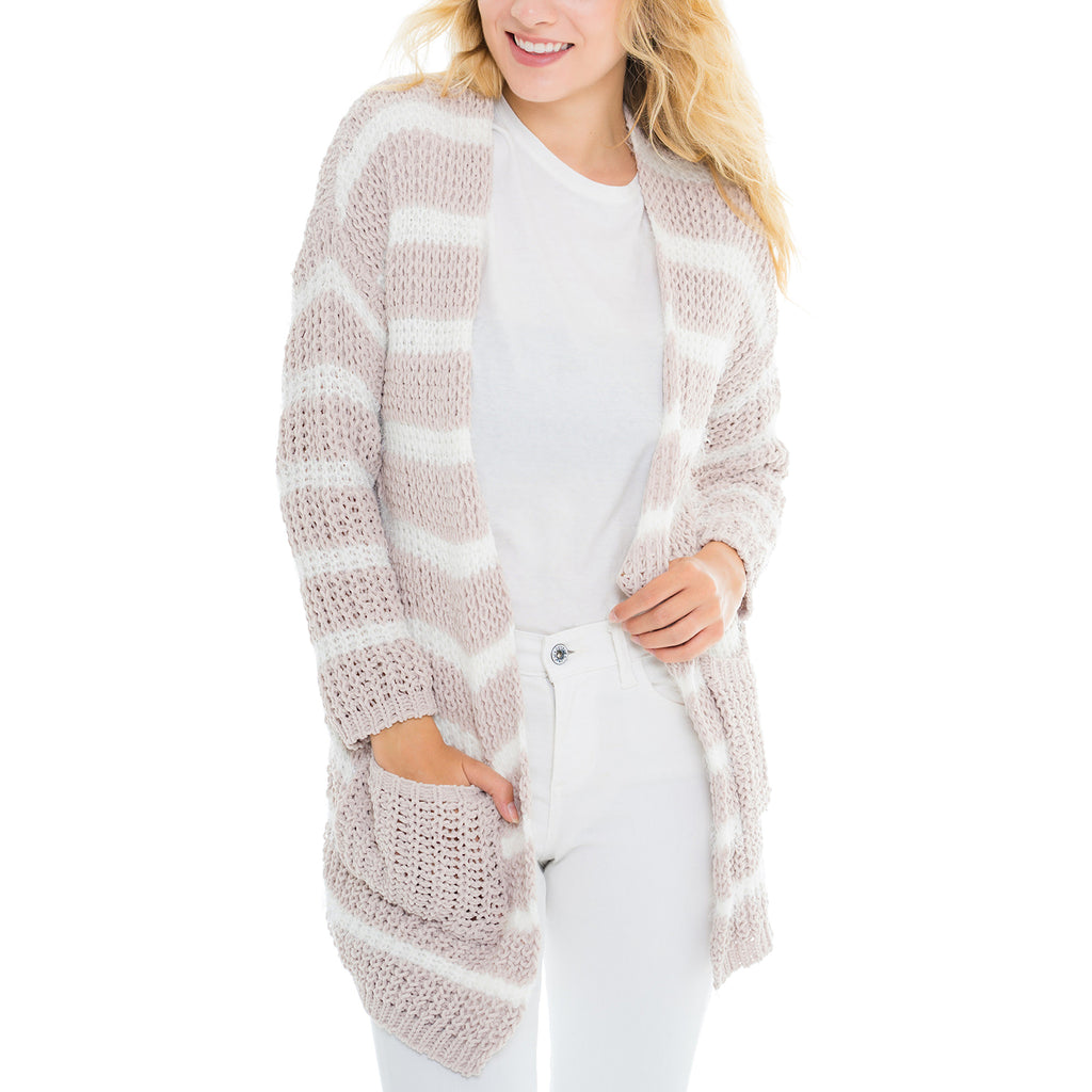 Woven Heart Eyelash Stripe Cardigan