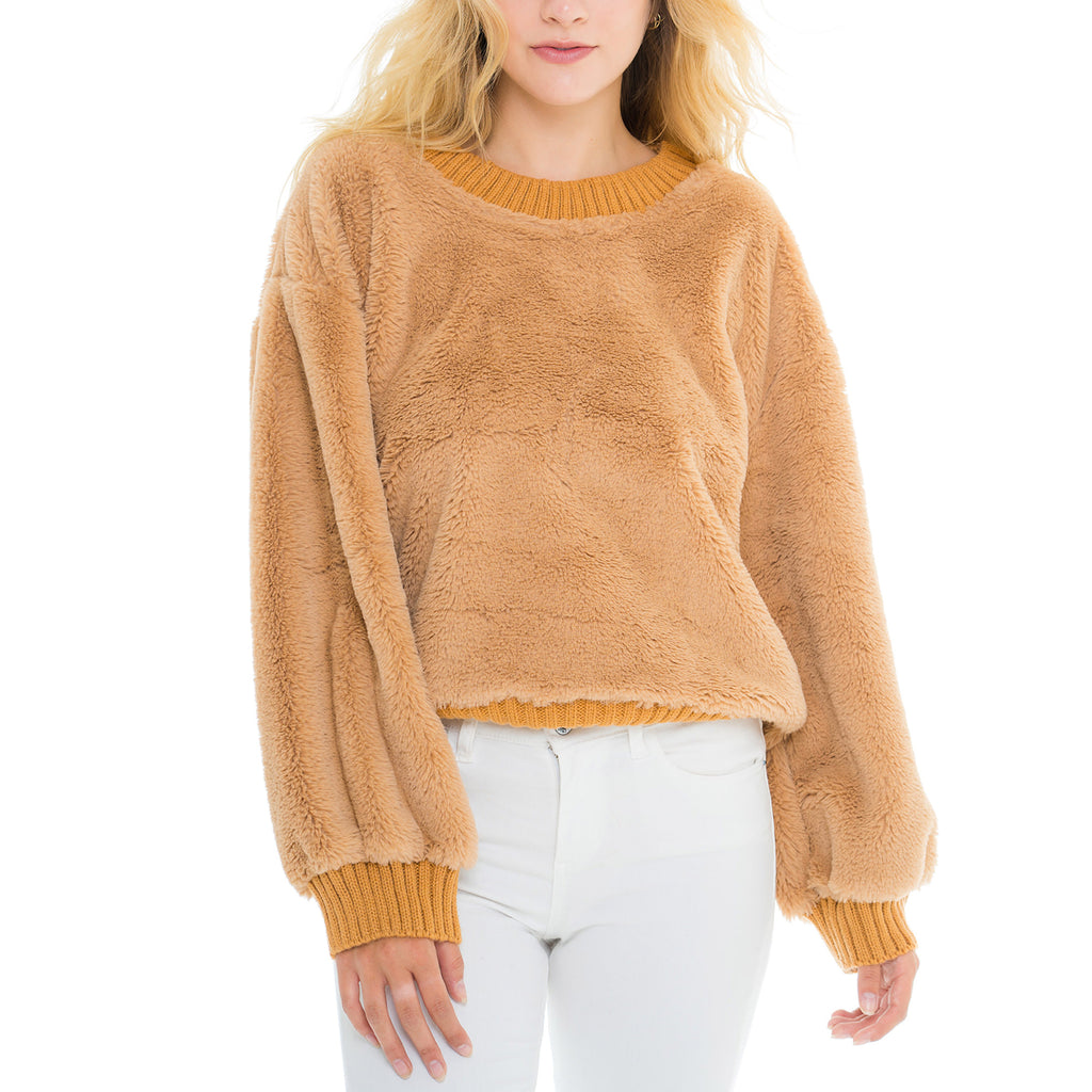 Woven Heart Ribbed Pullover