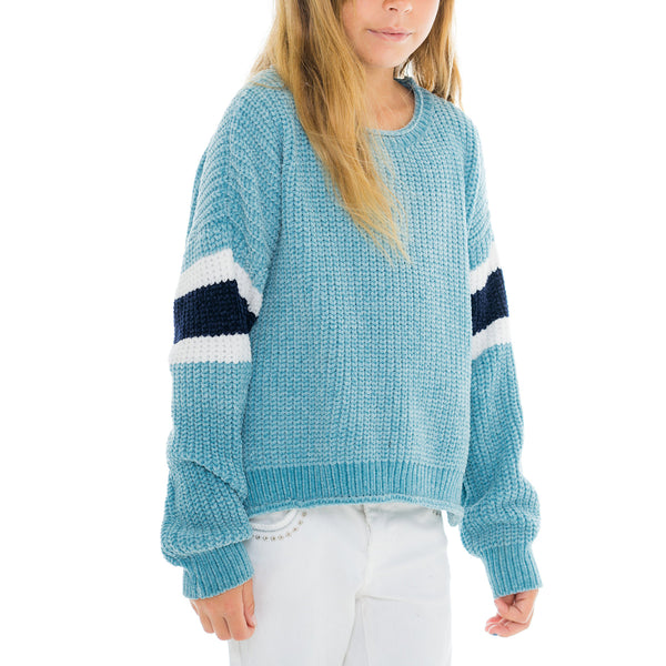 Woven Heart Girls Striped Sweater