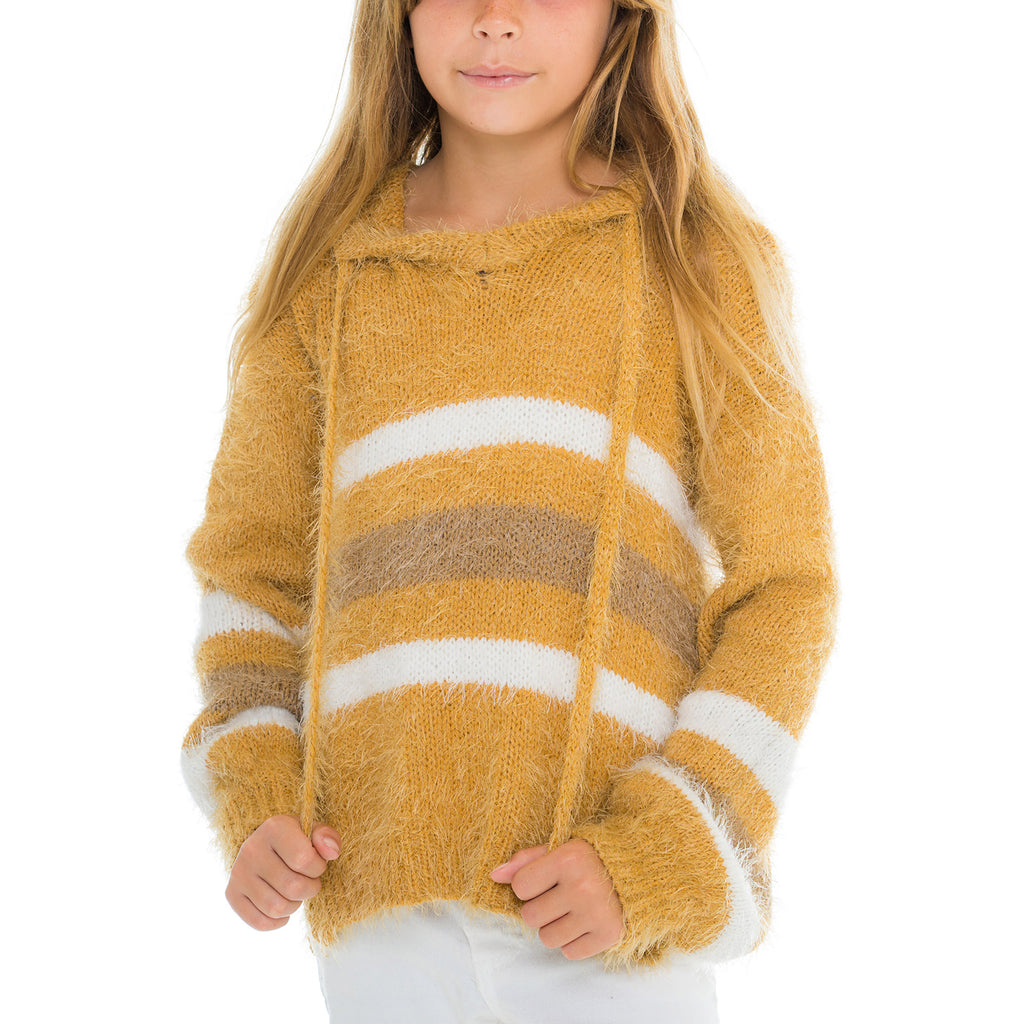 Woven Heart Girls Hooded Stripe Pullover