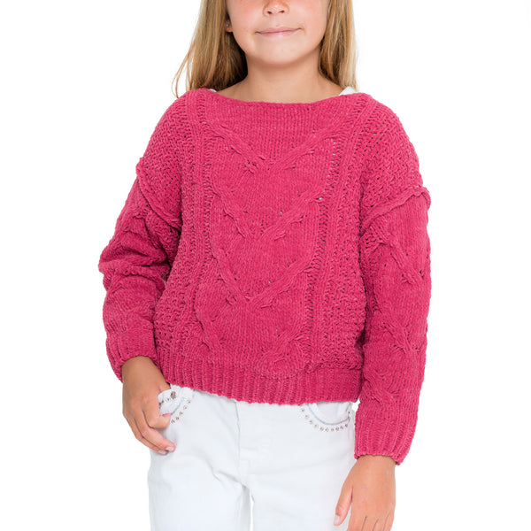 Woven Heart Cozy Girls Sweater