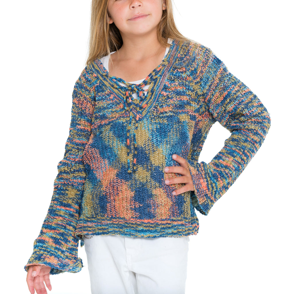 Woven Heart Girls Tie Front Sweater