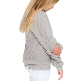 Woven Heart Girls Tie Back Sweater