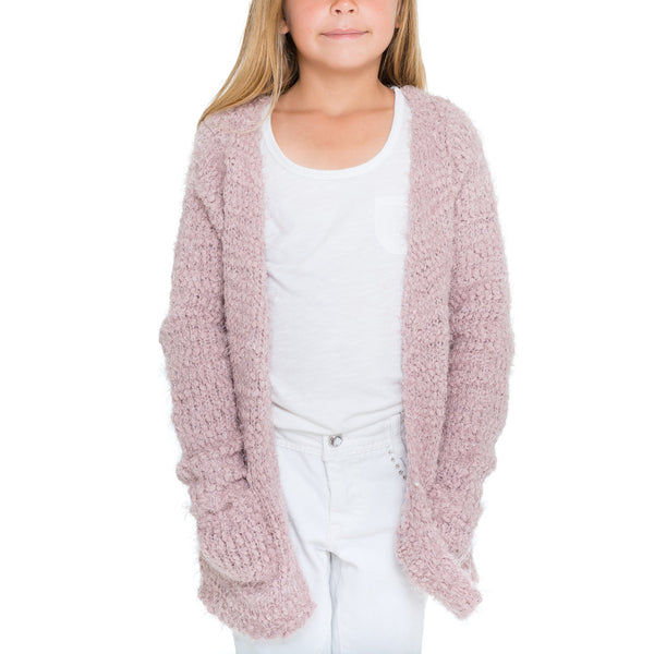 Woven Heart Girls Eyelash Girls Cardigan