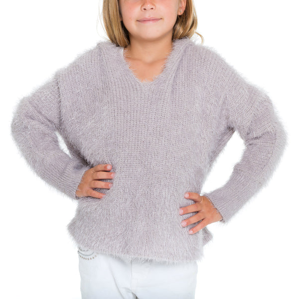 Woven Heart Girls Eyelash Pullover Sweater