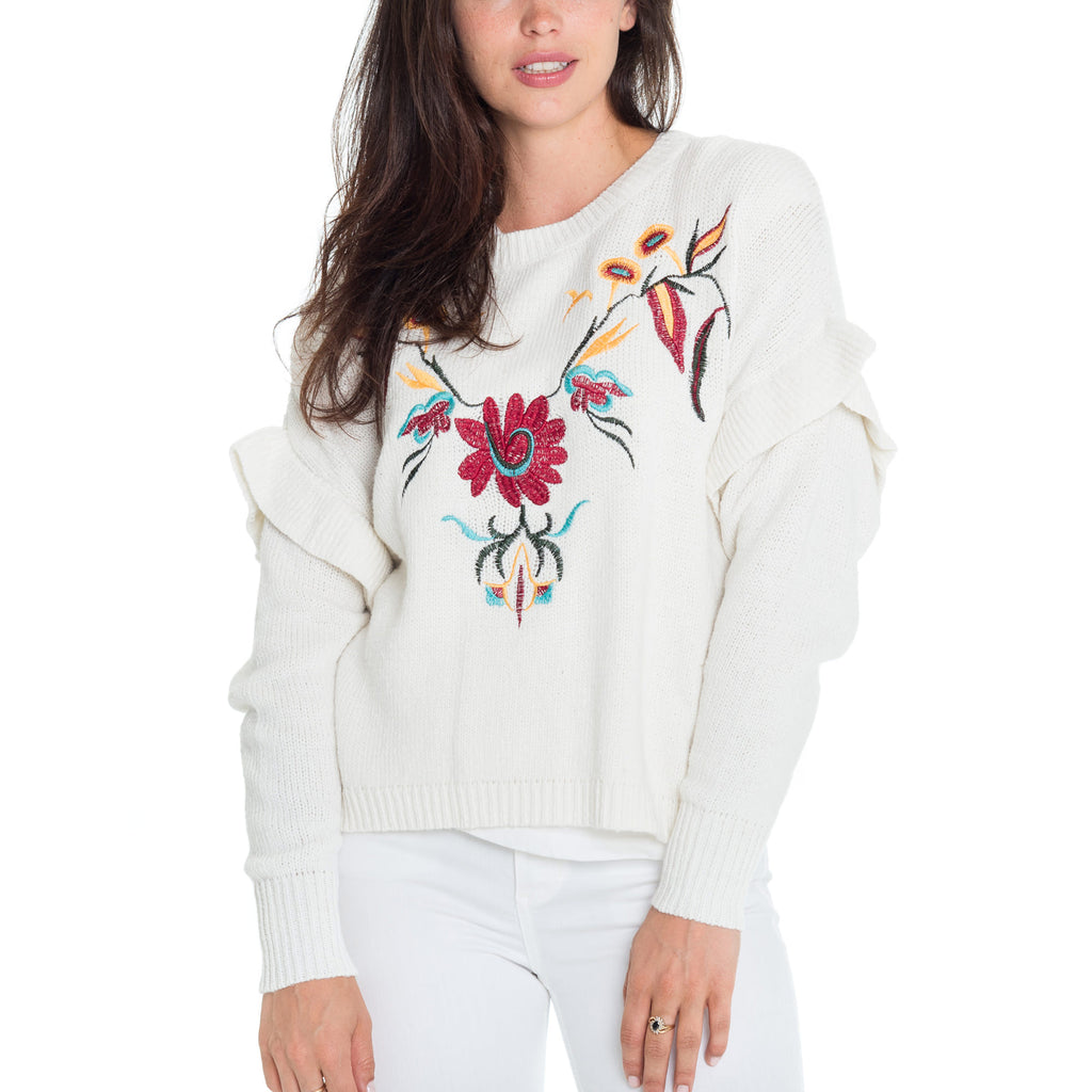 Woven Heart Bleu Lola Ruffle Embroidered Sweater