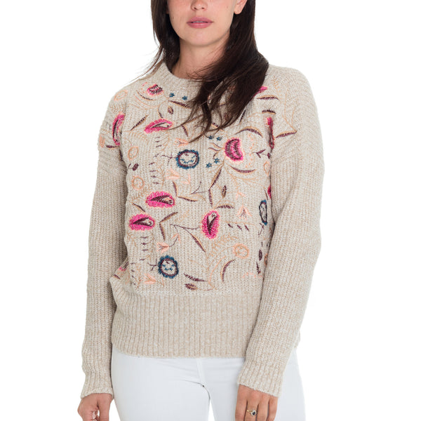 Woven Heart Bleu Embroidery Sweater