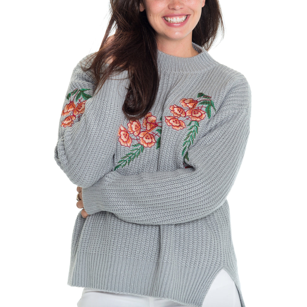 Woven Heart Bleu High Low Sweater