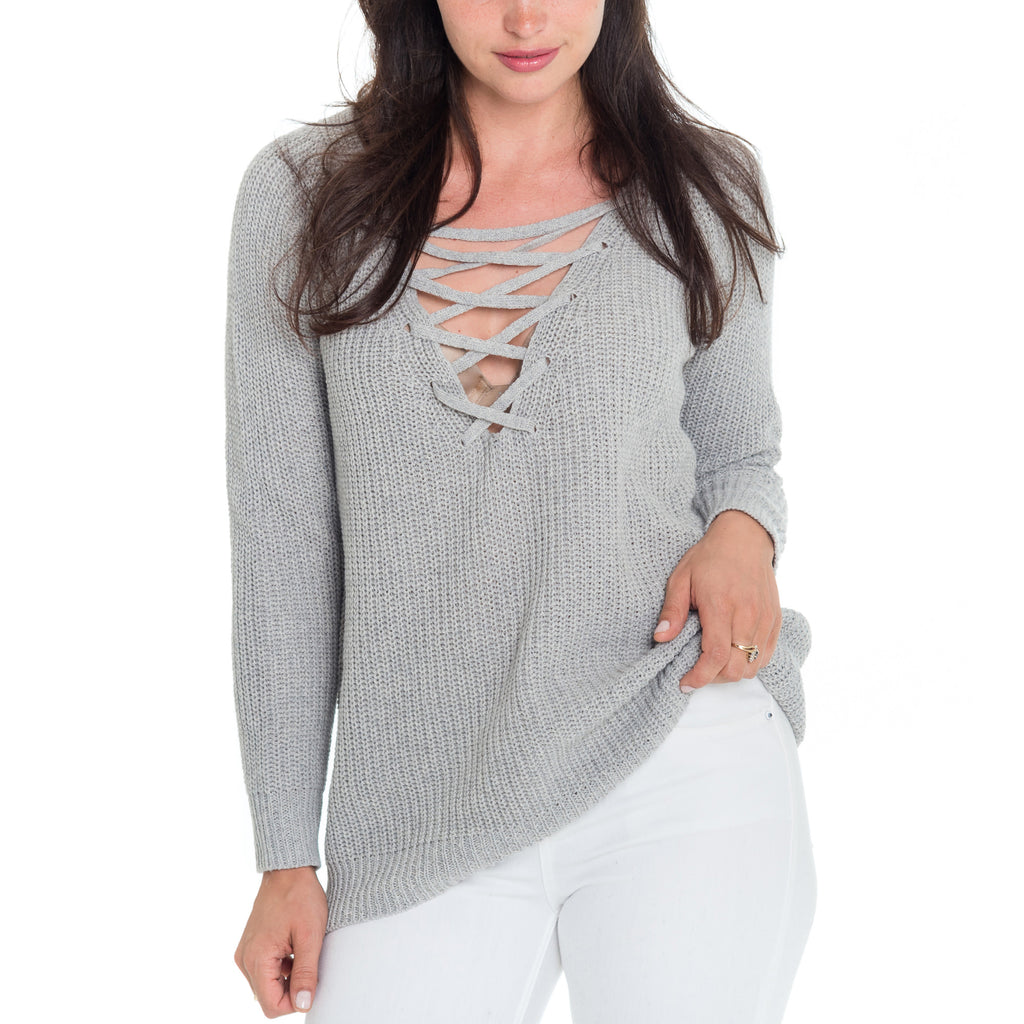Woven Heart Loulee Lace Up Sweater