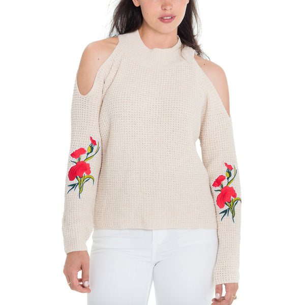 Woven Heart Bleu Patrice Cold Shoulder Sweater