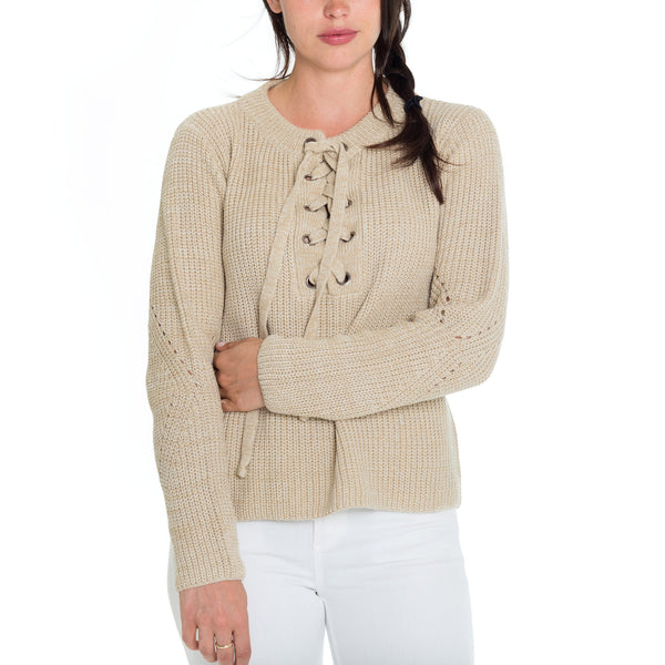 Woven Heart Tie Up Sweater