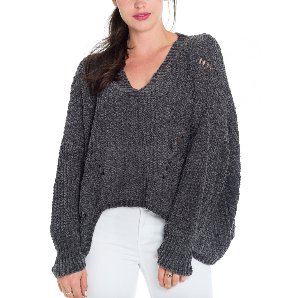 Woven Heart Bleu Chenille Deep V Sweater
