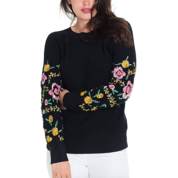 Woven Heart Bleu Flower Power Sweater