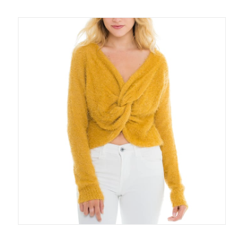 Woven Heart Front Twist Sweater