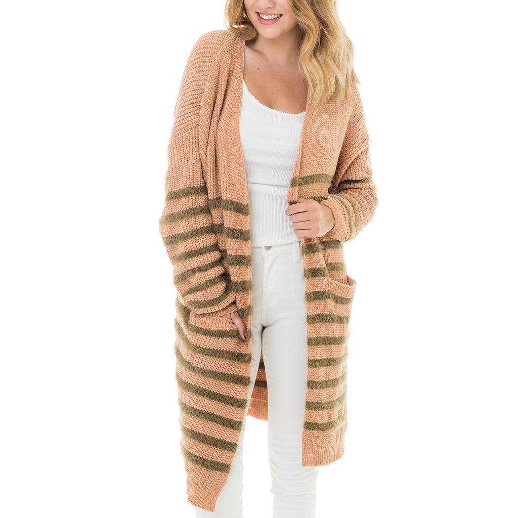 Woven Heart Striped Long Cardigan