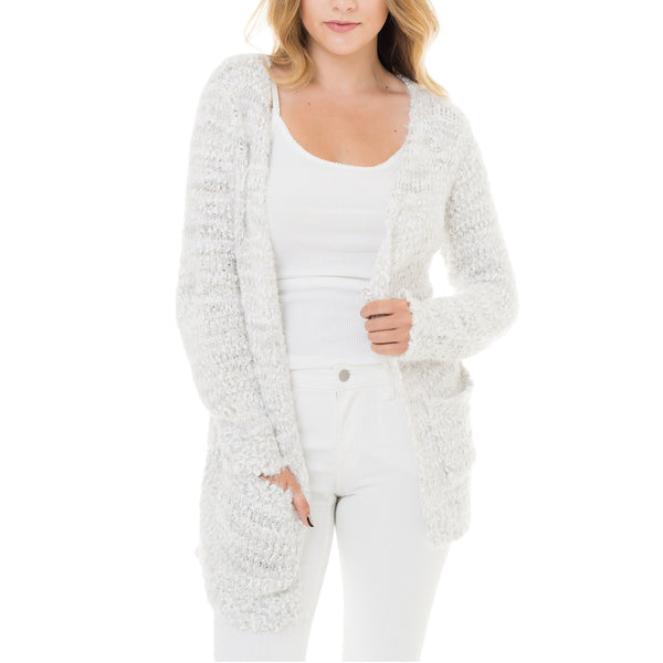 Woven Heart White Cardigan
