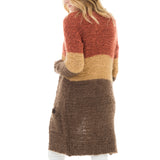 Woven Heart Color Block Long Cardigan