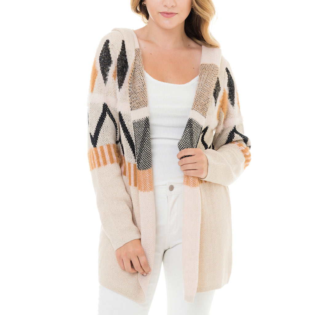 Woven Heart Triangles Long Cardigan