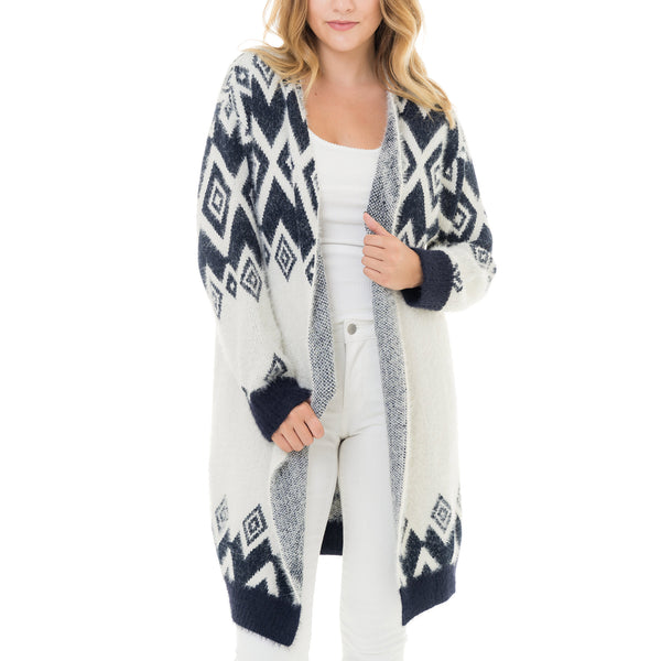 Woven Heart Patterned Long Cardigan