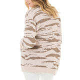 Woven Heart Zebra Patterned Cardigan