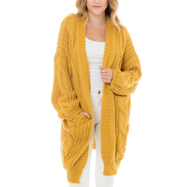 Woven Heart Cable Knit Long Cardigan
