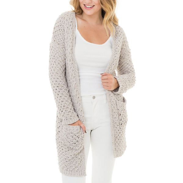Woven Heart Textured Knit Cardigan