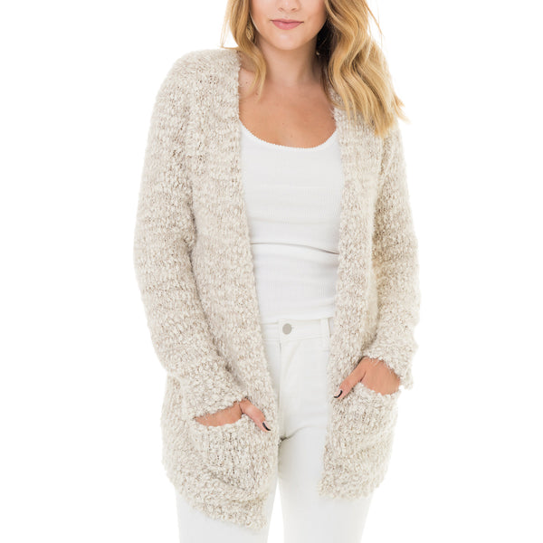 Woven Heart Marled Cardigan