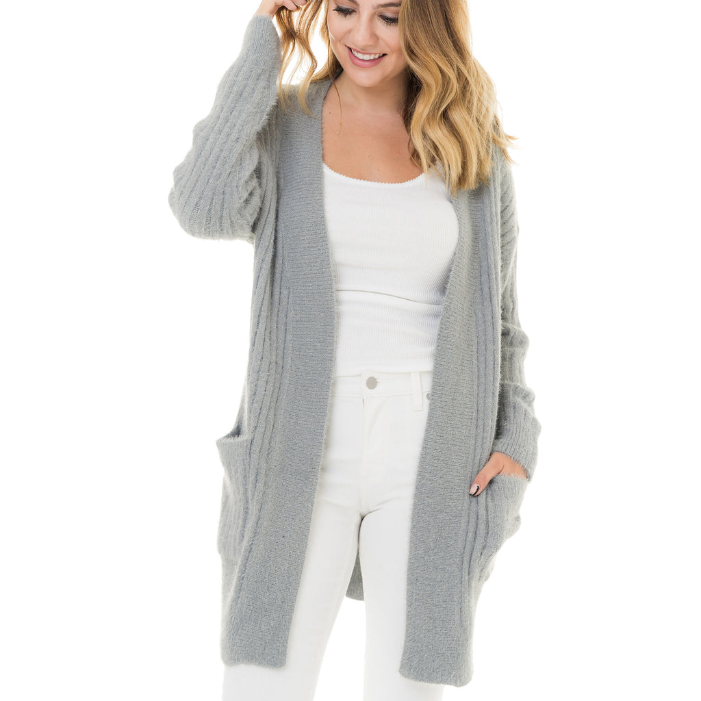 Woven Heart Grey Textured Cardigan
