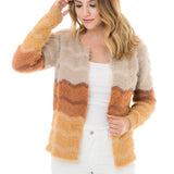 Woven Heart Fur Striped Jacket