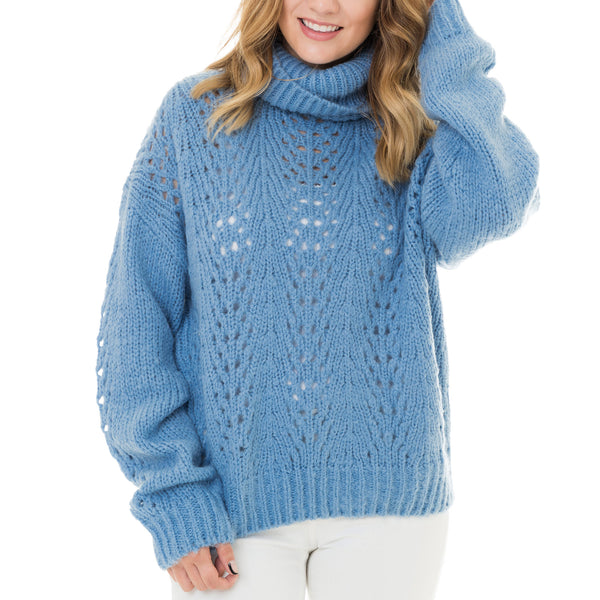 Woven Heart Slouchy Sweater